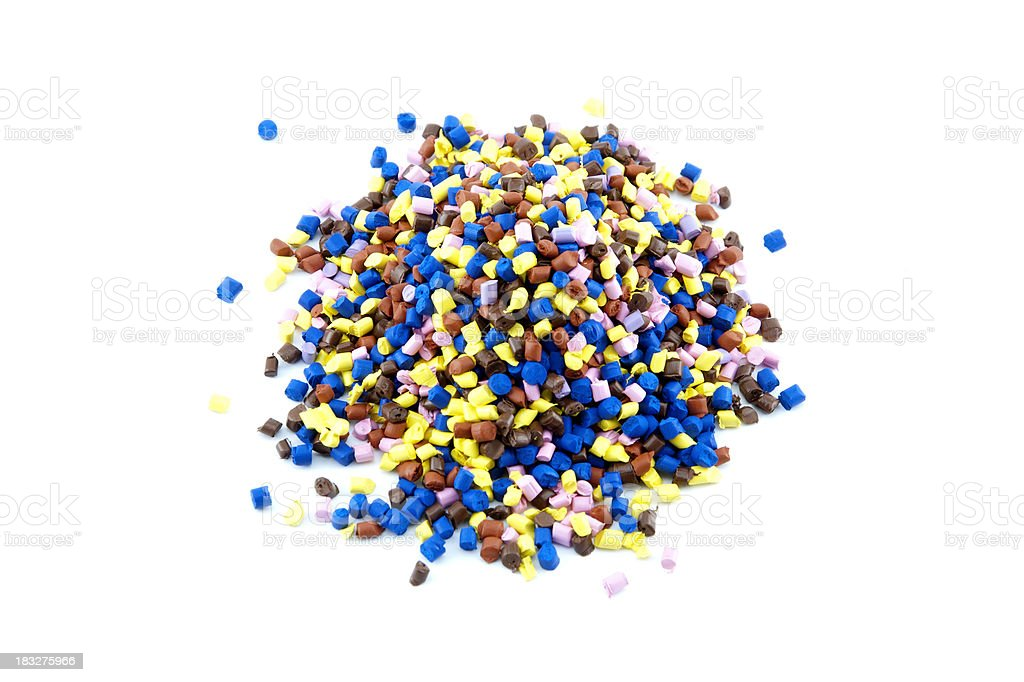 Plastic polymer granules with vibrant colors royalty-free stock photo