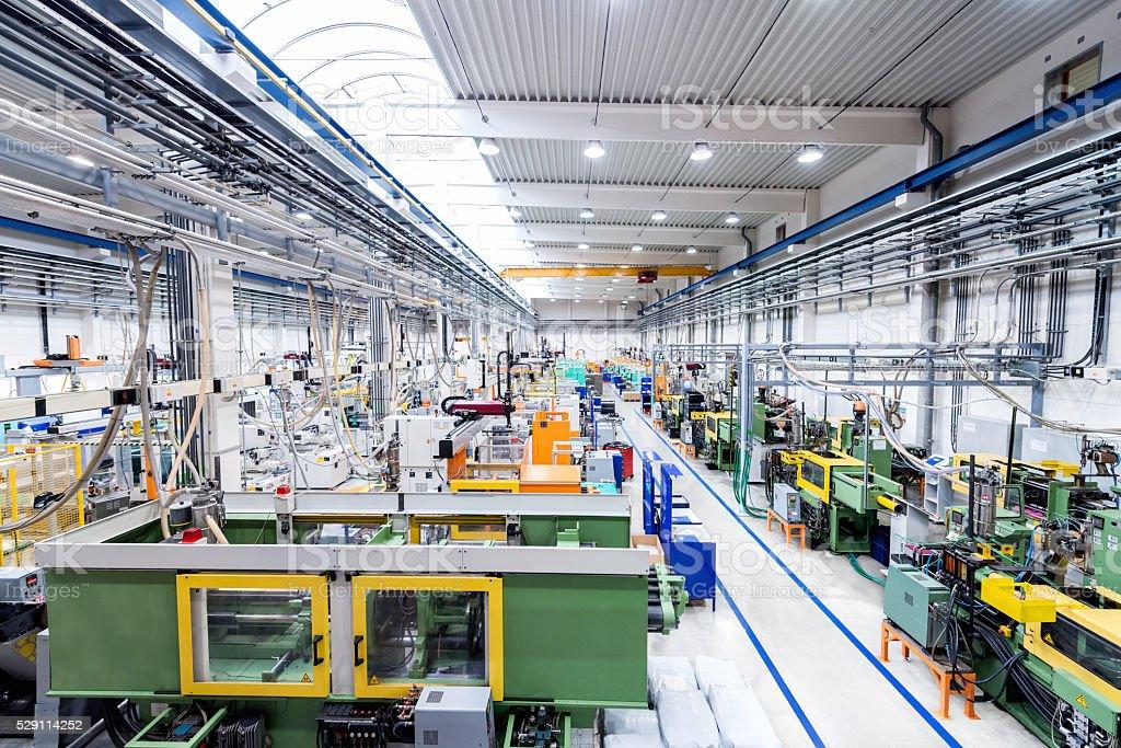 Plastic production line stock photo
