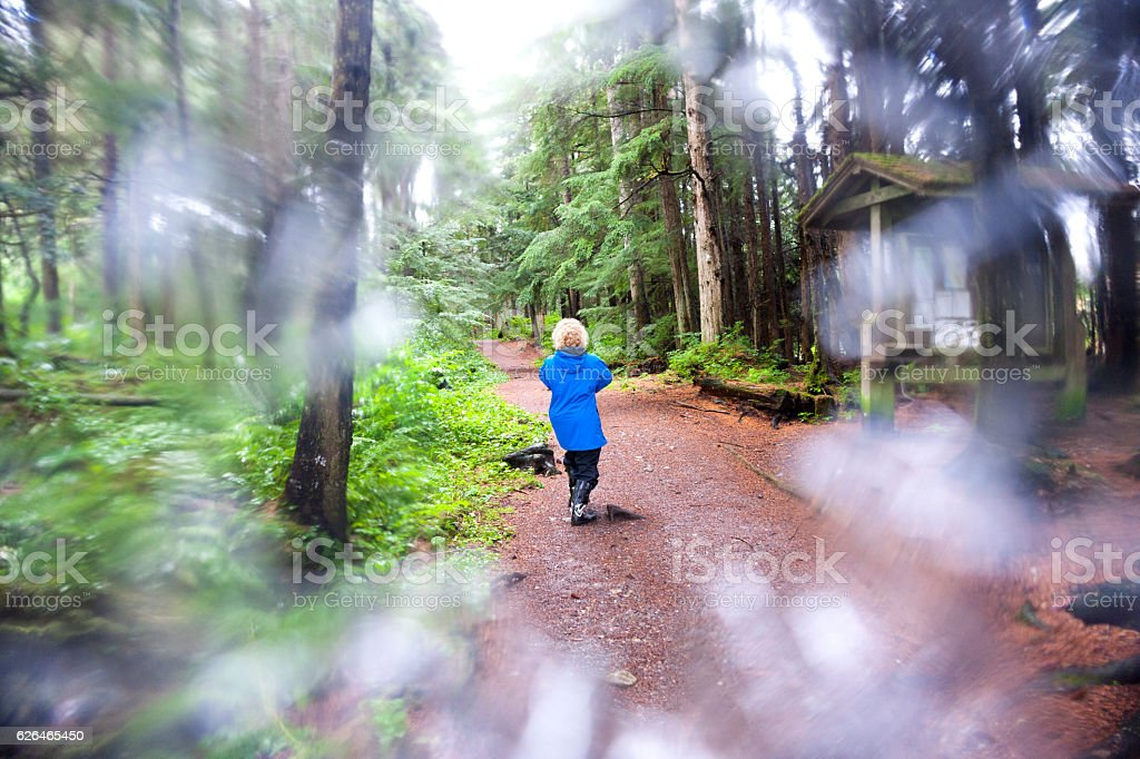 Plastic protection on camera lens while hiking stock photo