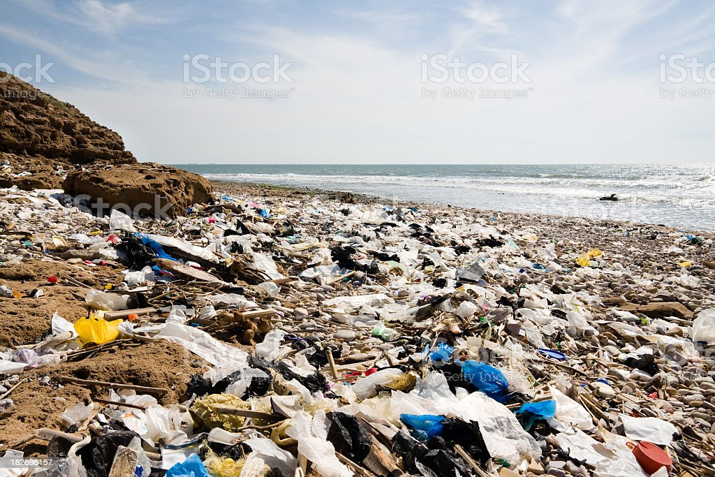 Plastic rubbish washed up on rocky beach stock photo