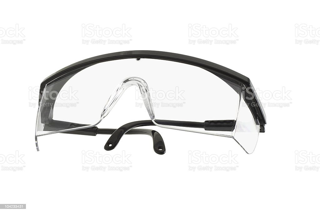 Plastic safety goggles on a white background stock photo