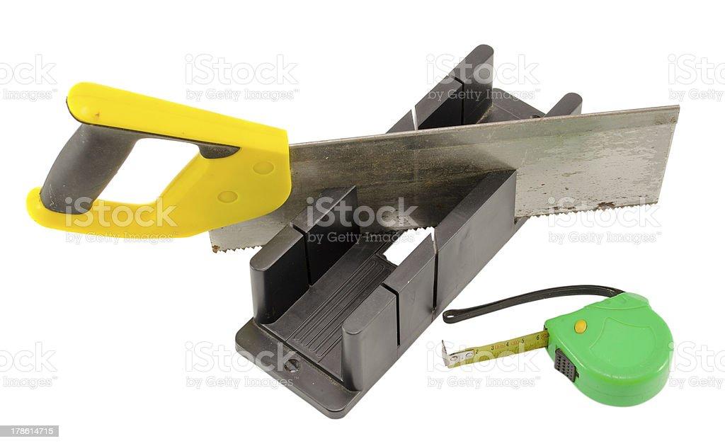 plastic saw angle cut miter box measure meter tool stock photo