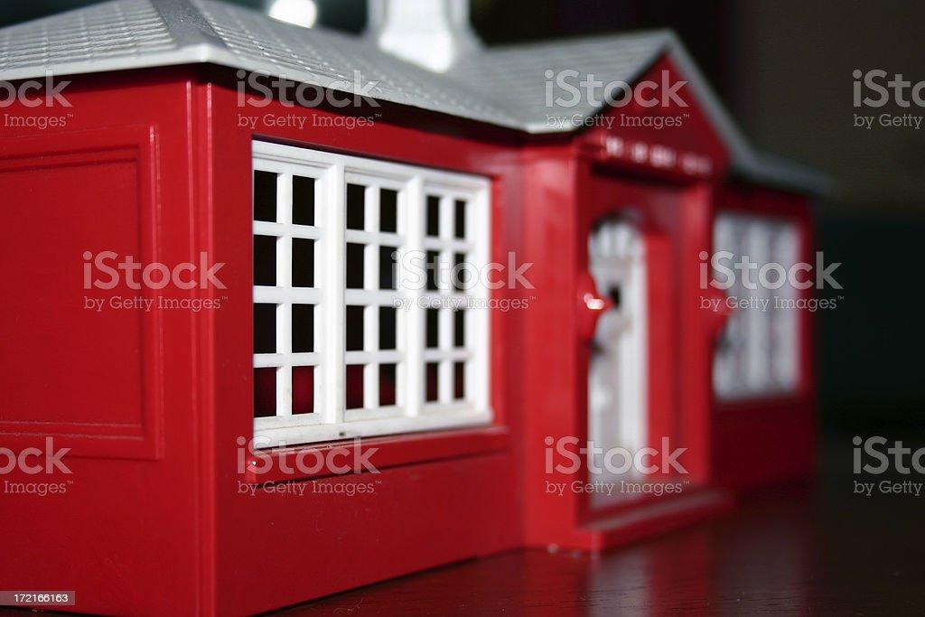 Plastic Schoolhouse stock photo