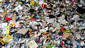 Plastic scrap in recycling center