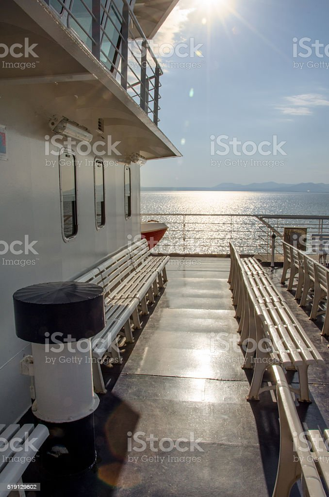 Plastic seat chairs on ferry boat stock photo