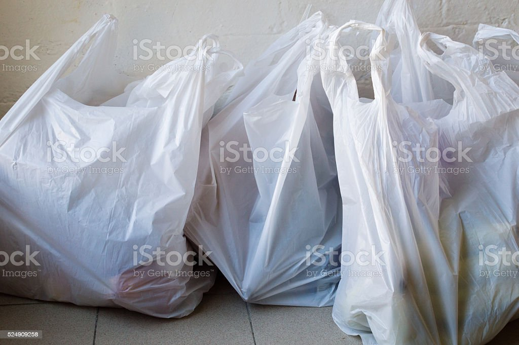 Plastic shopping bags stock photo