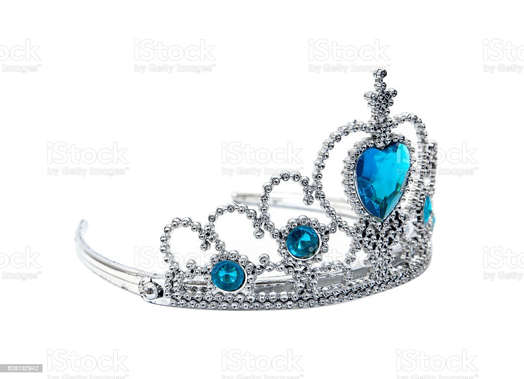 Plastic silver tiara toy isolated on white background.Toy crown isolated stock photo