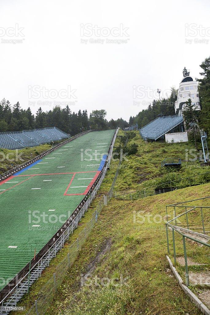 Plastic Ski Jump in Summer Zakpoane Poland stock photo