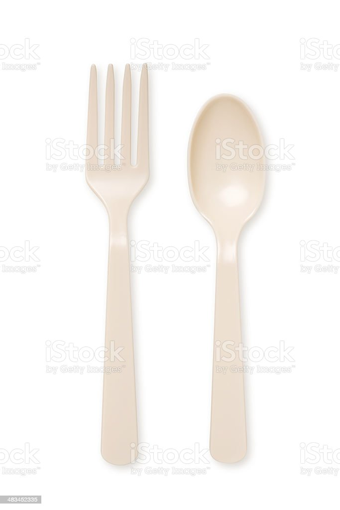 Plastic Spoon and fork stock photo