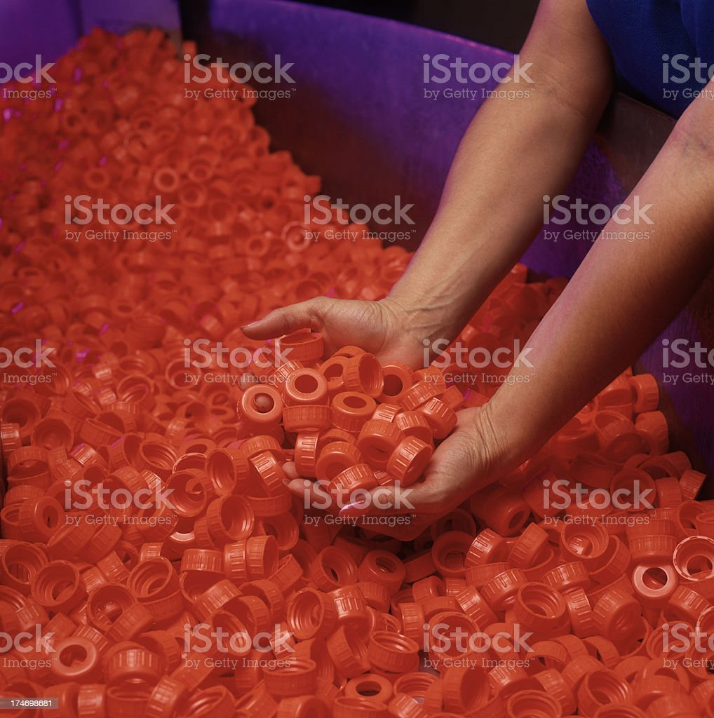 Plastic spray bottle lid manufacturing royalty-free stock photo