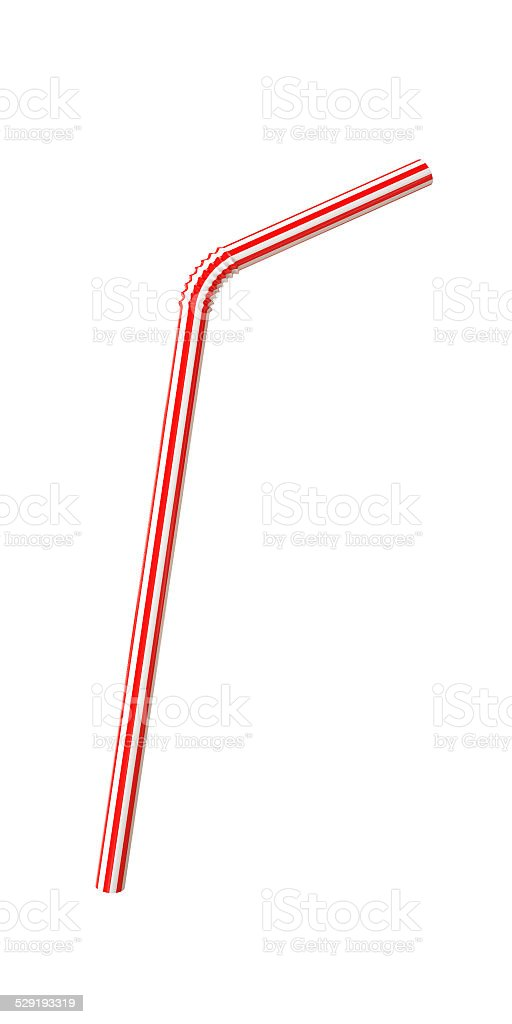 Plastic Straw Isolated on White Background stock photo