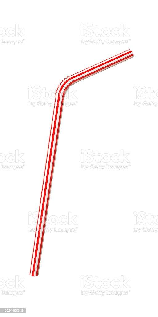 Plastic Straw Isolated on White Background stock photo