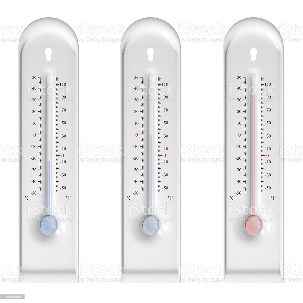 Plastic thermometers on white background stock photo