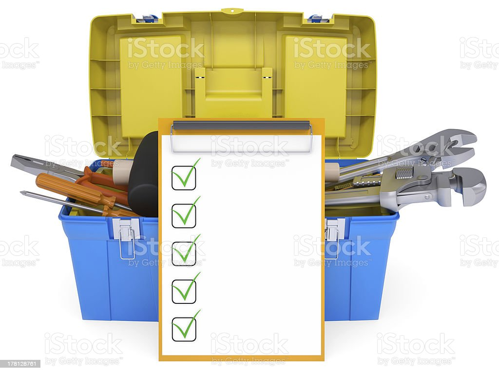 Plastic tool box with tools royalty-free stock photo