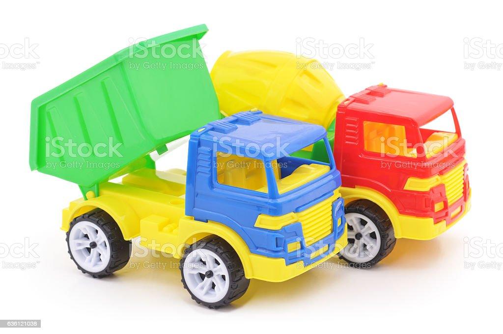 Plastic toy cars. stock photo