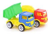 Plastic toy cars.