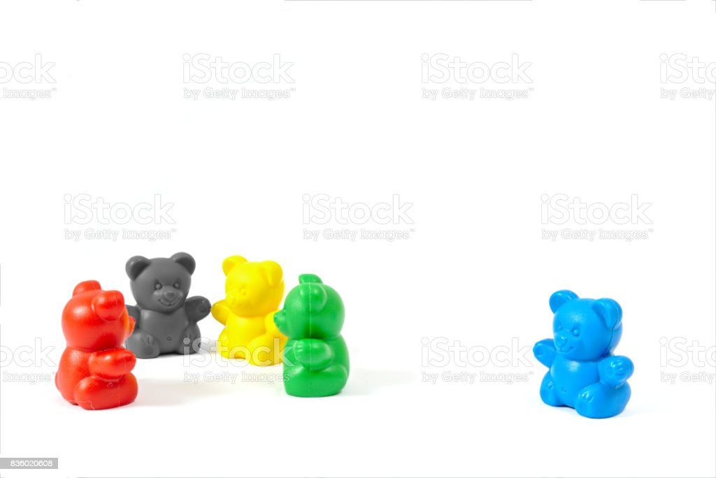 Plastic toy figures in the colors of the major political parties in Germany (AfD clearly isolated off to the side) on white background stock photo