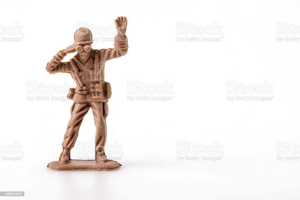 Plastic Toy Soldiers on white background stock photo