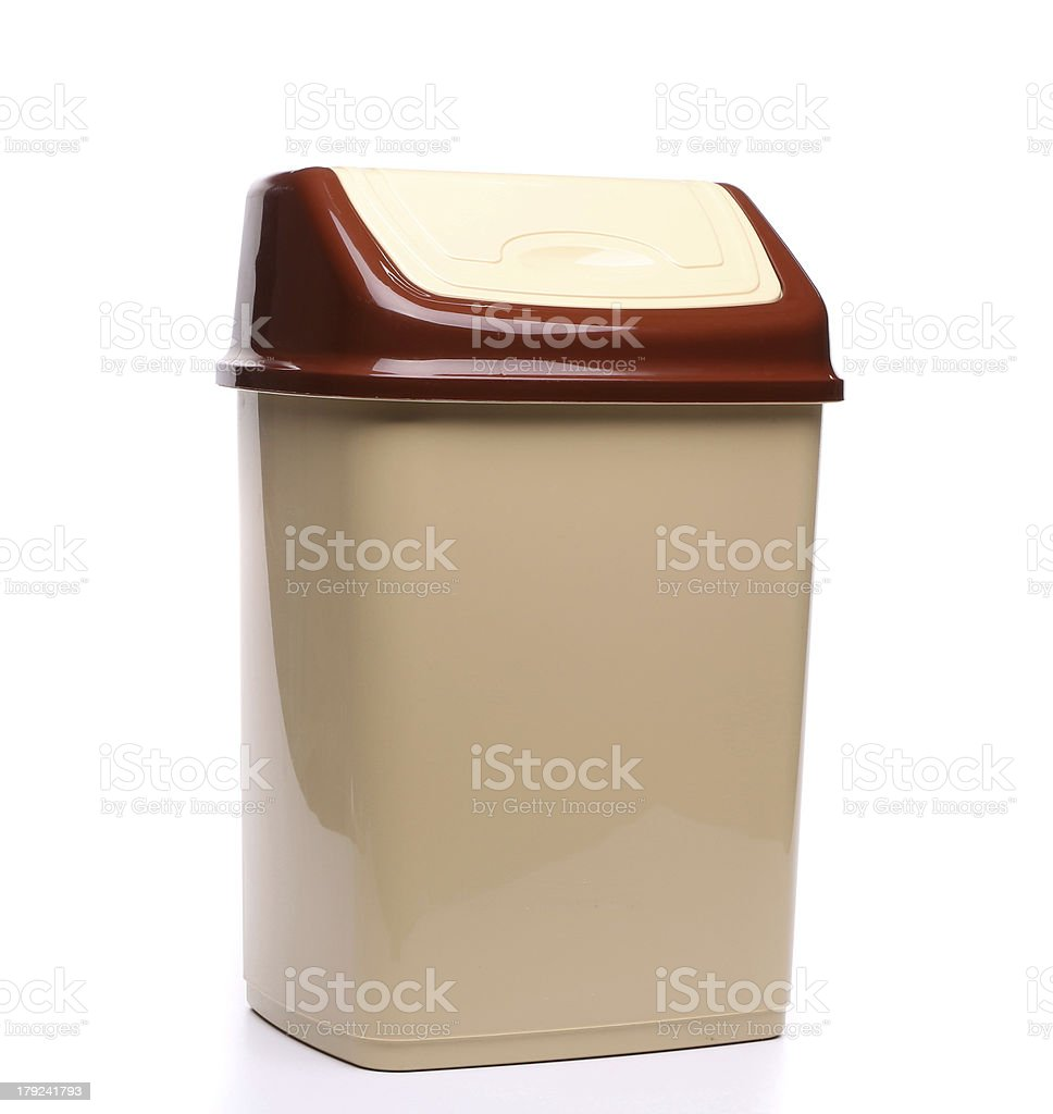 plastic trash can close full face royalty-free stock photo