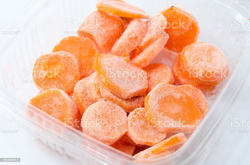 Plastic Tray with Carrots Steamed royalty-free stock photo