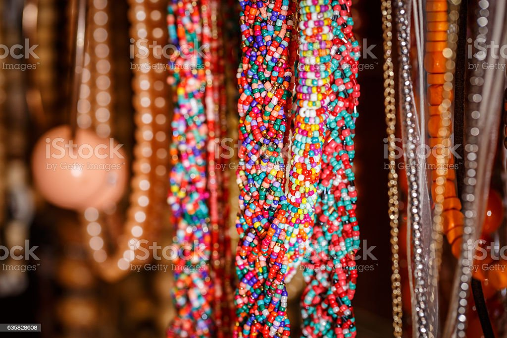 Plastic trinkets jewelry stock photo