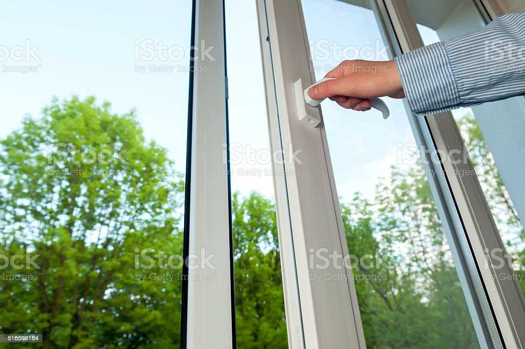 plastic vinyl window stock photo