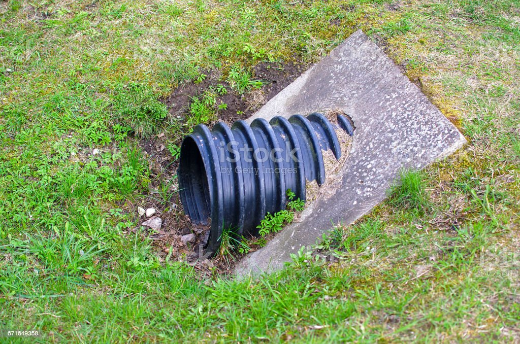 Plastic waste water drainage pipe stock photo