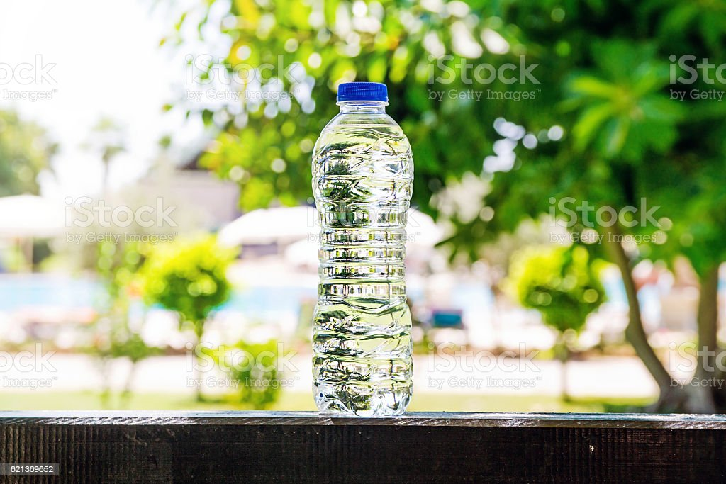 Plastic water bottle standing on a summer background stock photo
