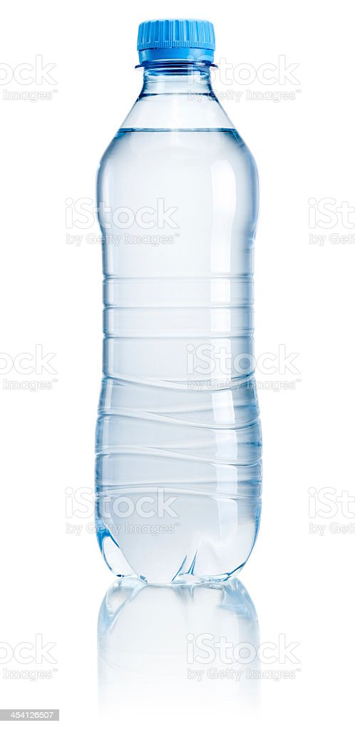 Plastic water bottle with no label on white background stock photo