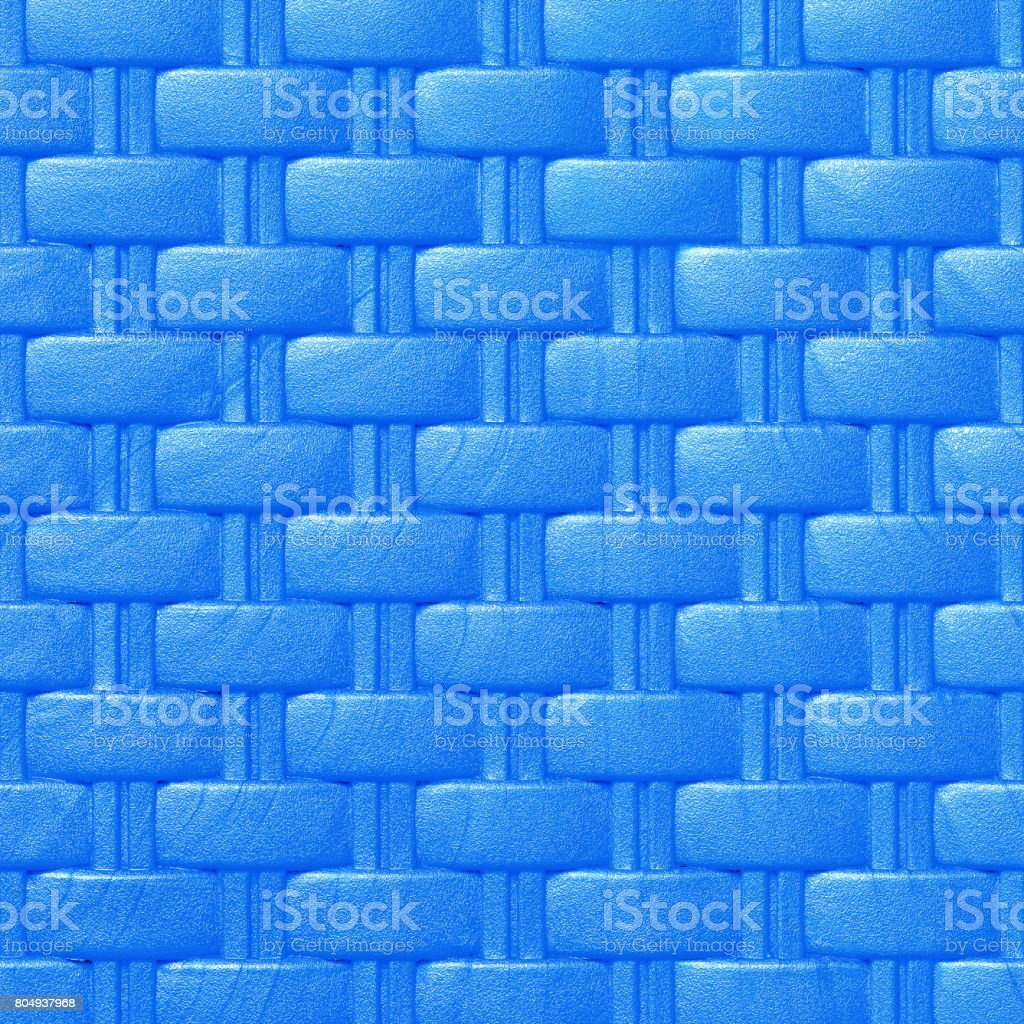 Plastic weave pattern texture and background; blue color stock photo