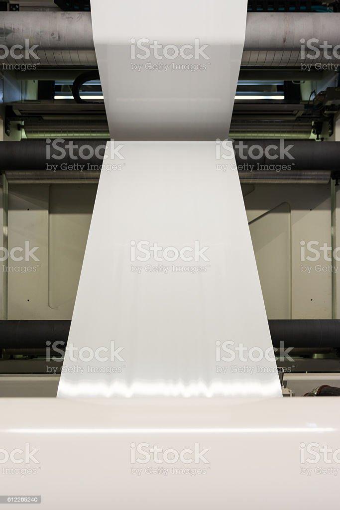 Plastic White Blank Print Feed Flexo Industry Printing Roll Proc stock photo