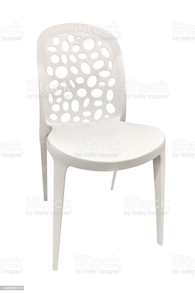 plastic white chair isolated on white background stock photo