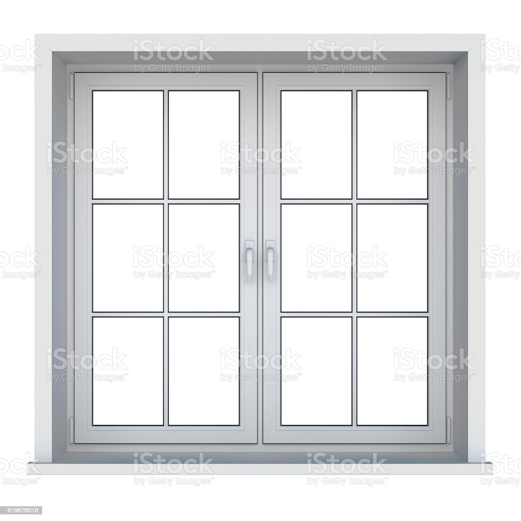 Plastic window isolated on white background vector art illustration