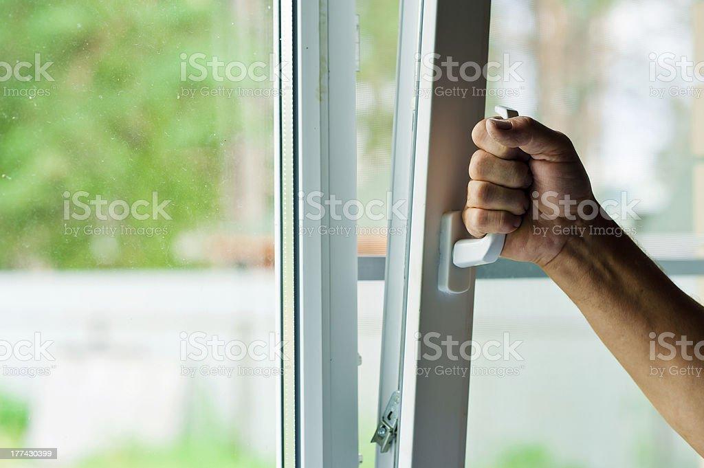 plastic window with mosquito net stock photo