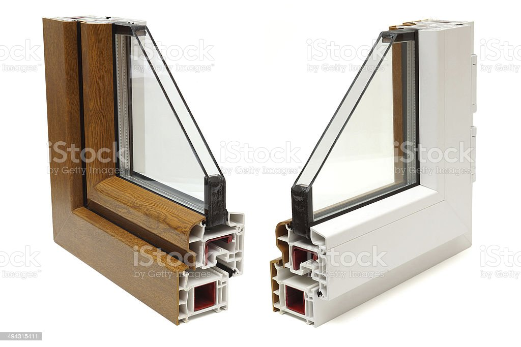 plastic windows profile stock photo