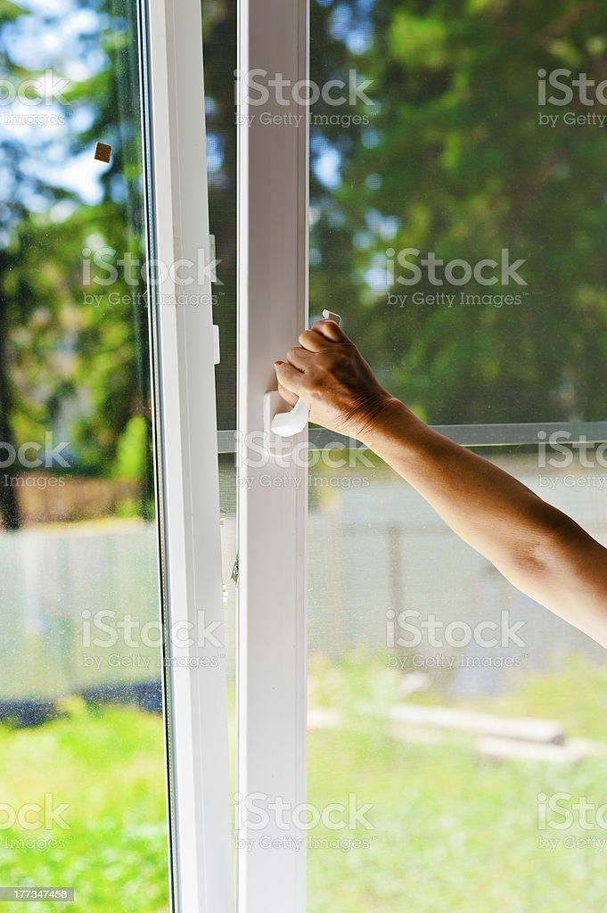plastic windows with mosquito nets stock photo