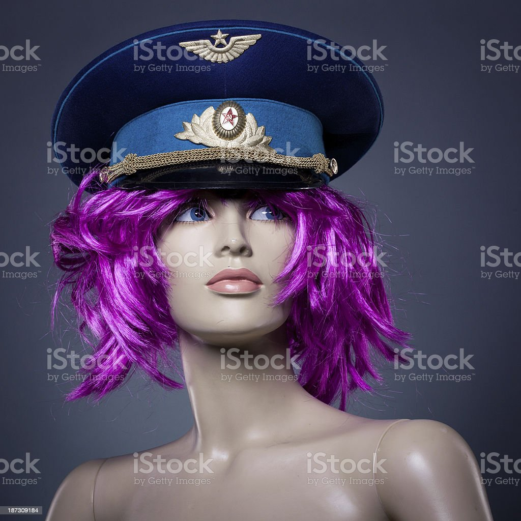 Plastic woman mannequin with Soviet hat royalty-free stock photo