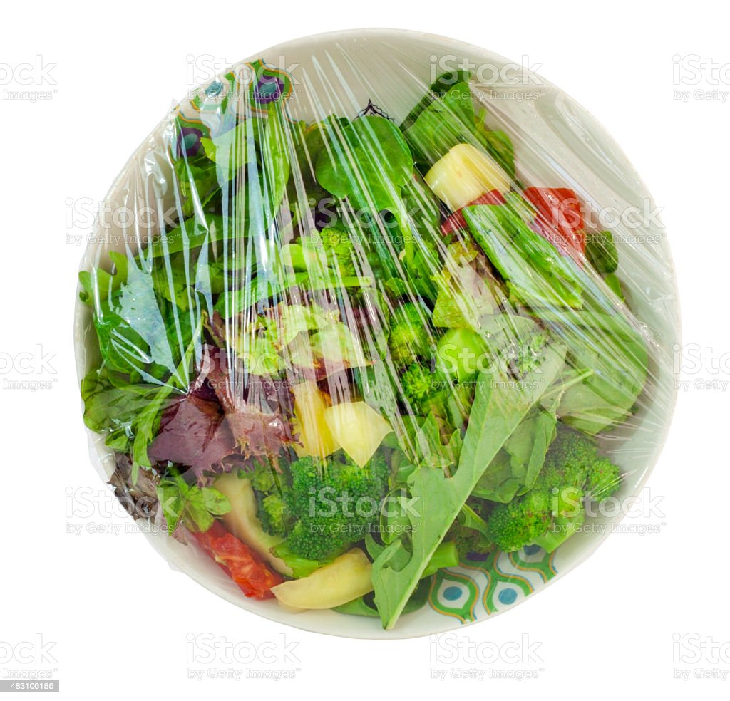 Plastic Wrapped Leftover Salad stock photo