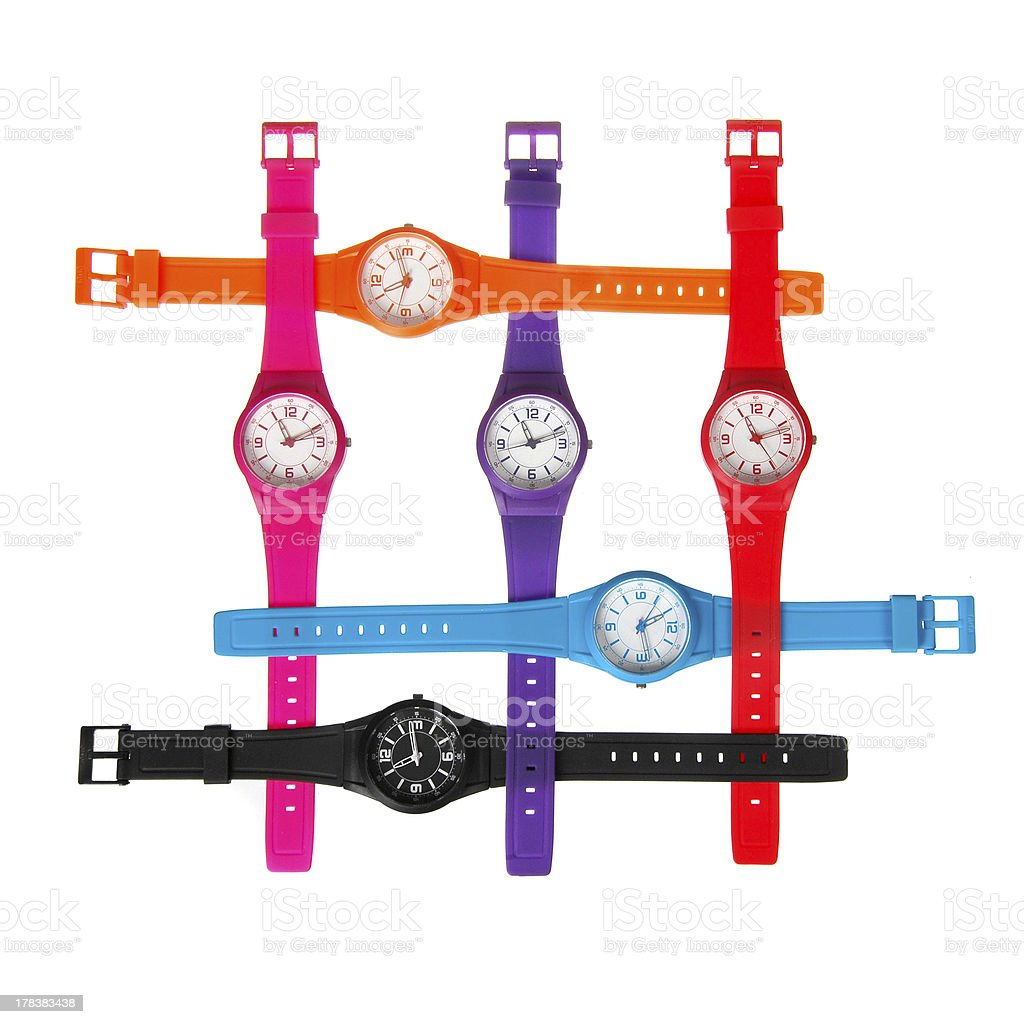 plastic wrist watches stock photo