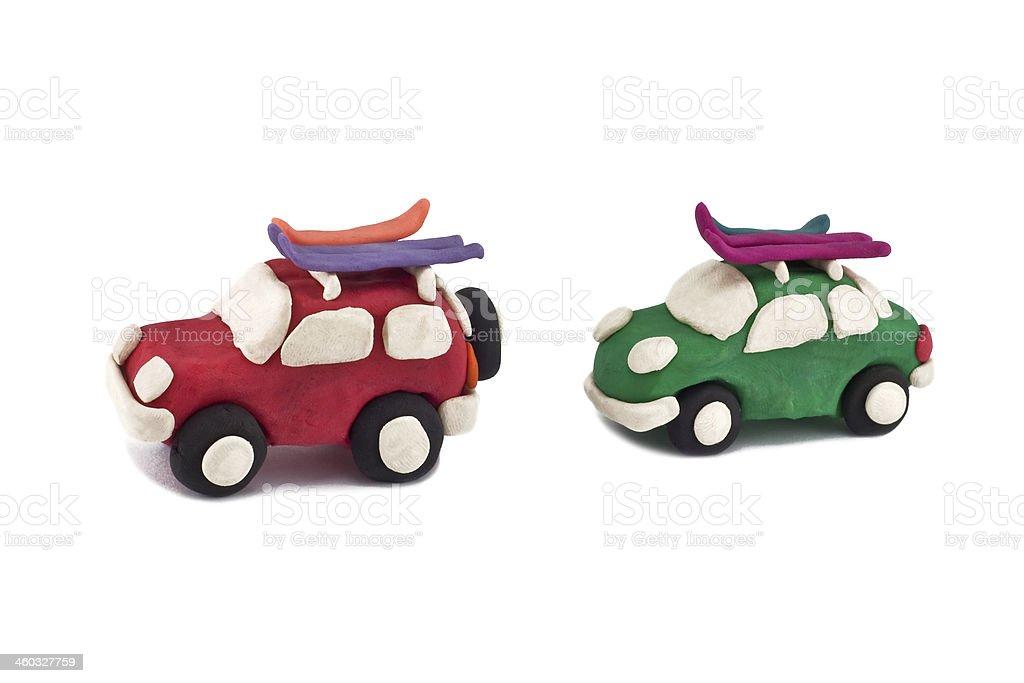plasticine cars stock photo