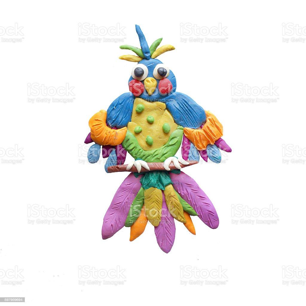 Plasticine  Fantasy bird sculpture isolated stock photo