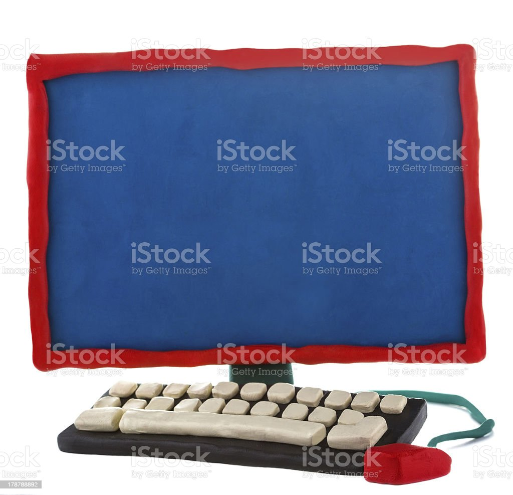Plasticine handmade computer on a white background royalty-free stock photo