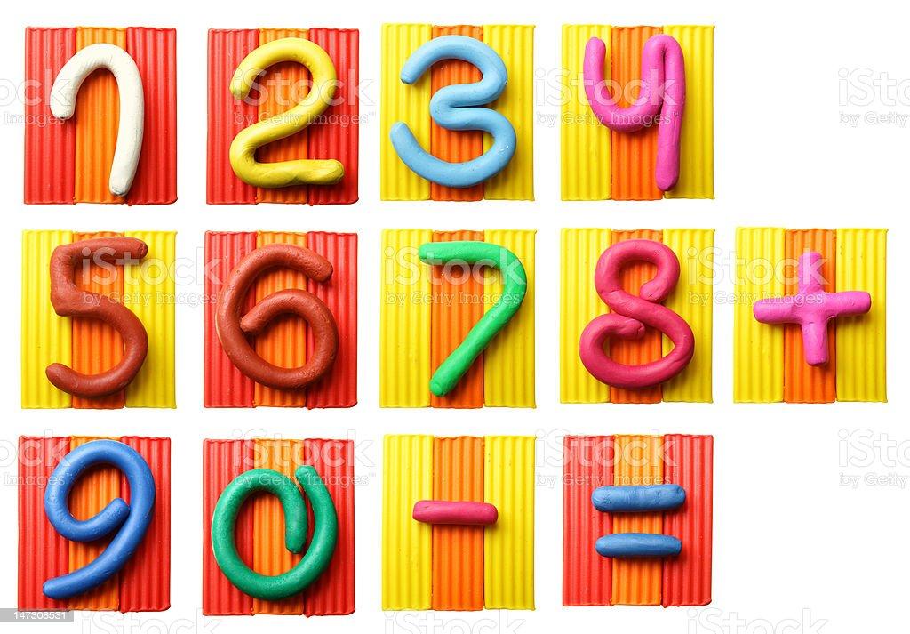 Plasticine numbers stock photo
