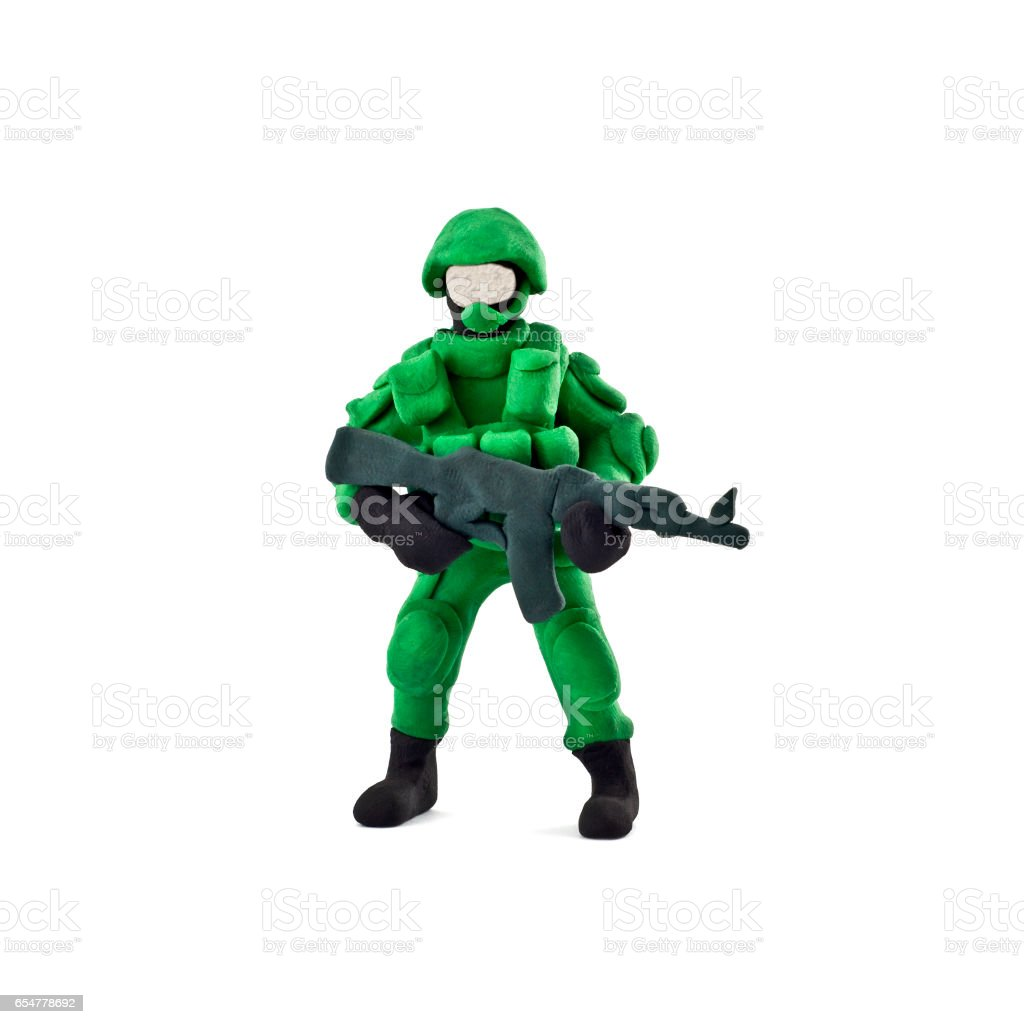 Plasticine soldiers isolated on a white background stock photo