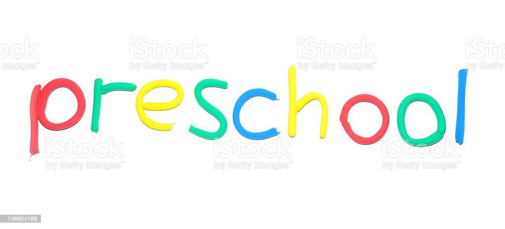 Plasticine word Preschool royalty-free stock photo