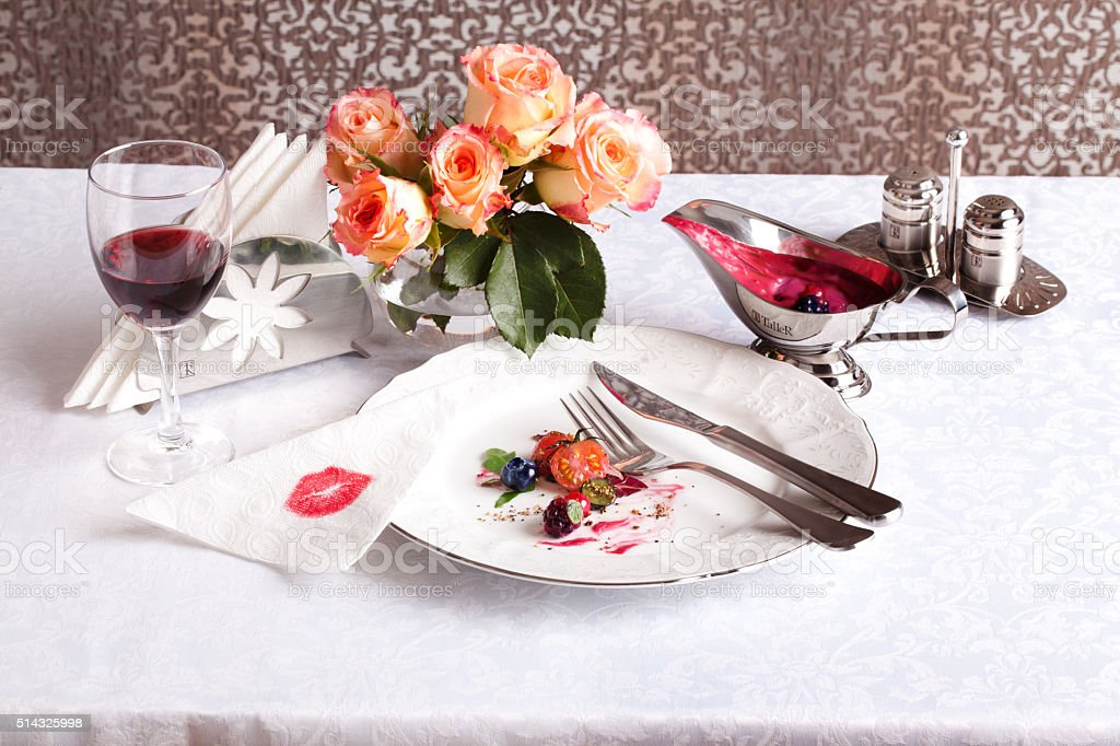 plate after a meal with beautiful scraps stock photo