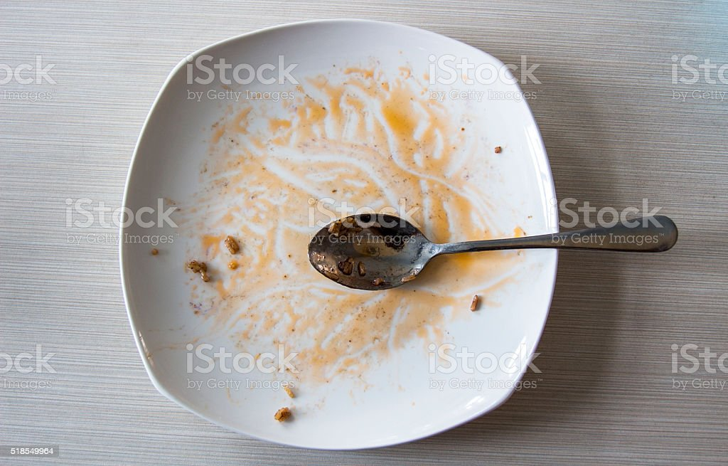plate after eating up stock photo
