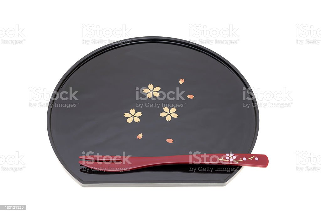 plate and fork for japanese cake royalty-free stock photo