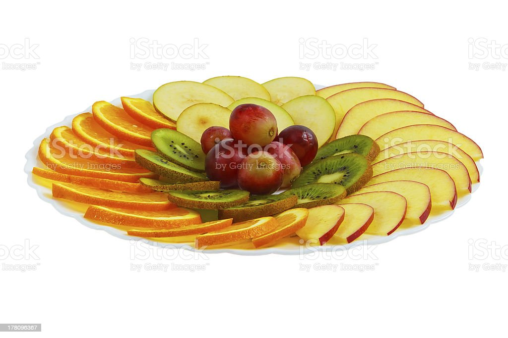 plate apple kiwi food grapes sliced isolated on white background royalty-free stock photo
