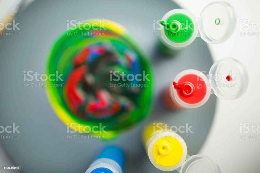 Plate as a palette and colors stock photo